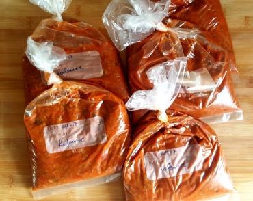batch cooking kødsauce i pakker